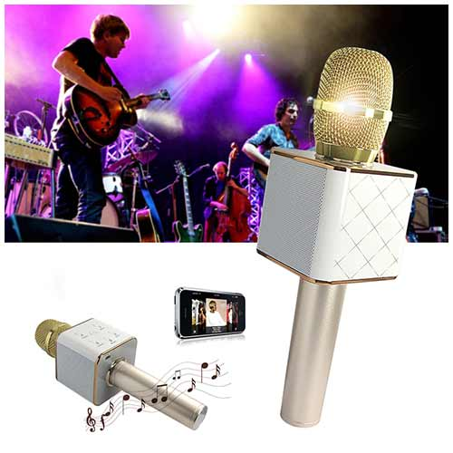 Беспроводной караоке микрофон «Q7» (золотой)